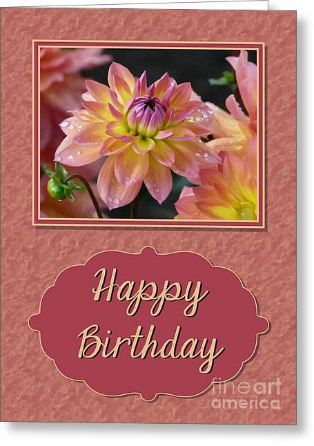 Painted Dahlia Birthday Greeting Card