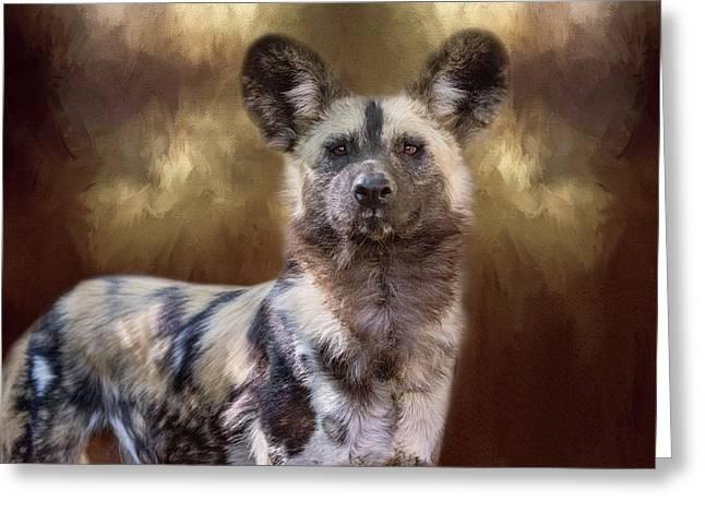 Painted Dog Portrait II Greeting Card