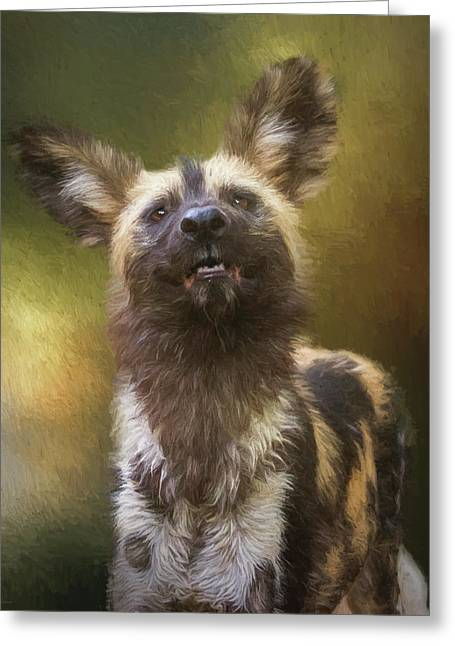 Painted Dog Portrait Greeting Card