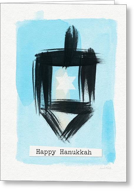 Painted Dreidel Happy Hanukkah- Design By Linda Woods Greeting Card by Linda Woods