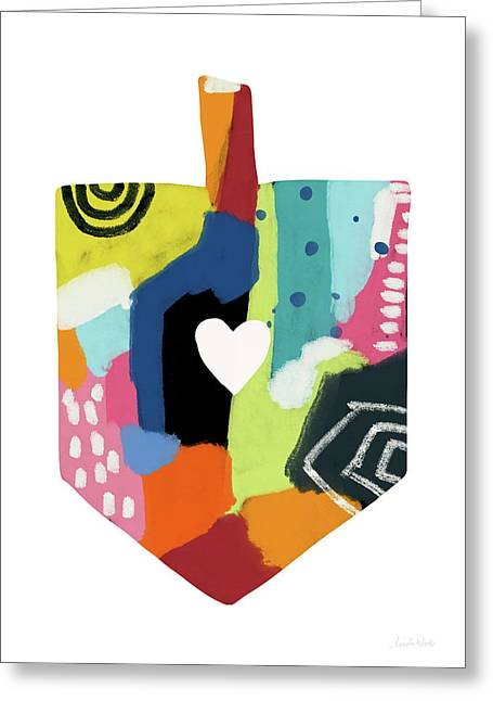 Painted Dreidel With Heart- Art By Linda Woods Greeting Card by Linda Woods
