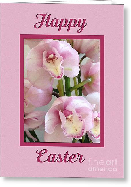 Greeting Card featuring the digital art Painted Easter Orchids by JH Designs