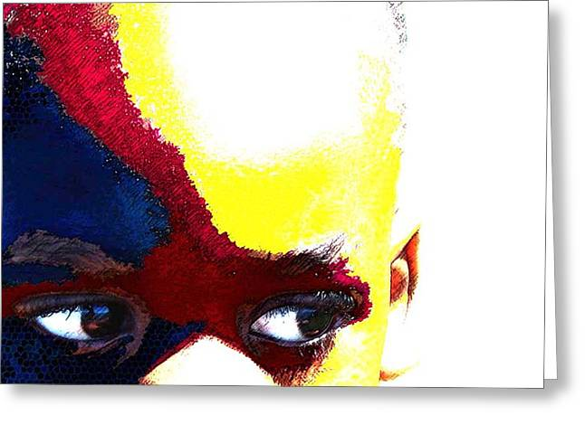 Painted Face 1 Greeting Card by LeeAnn Alexander