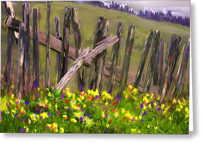 Painted Fence Greeting Card by Vicki Tomatis