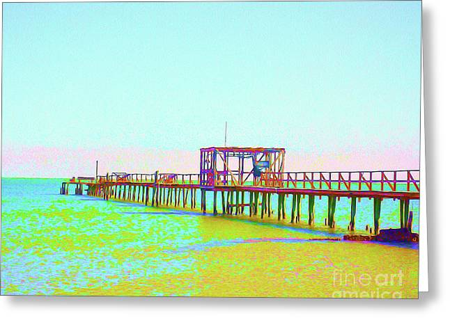 Painted Fishing Pier Greeting Card by Chris Andruskiewicz