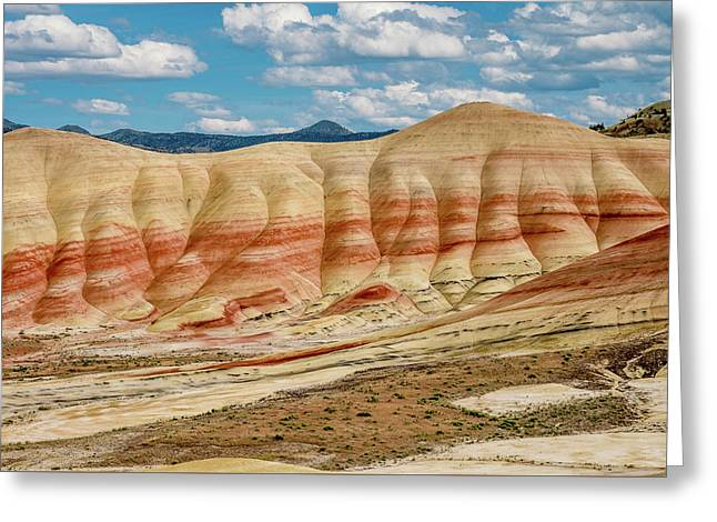 Greeting Card featuring the photograph Painted Hills And Afternoon Sky by Greg Nyquist