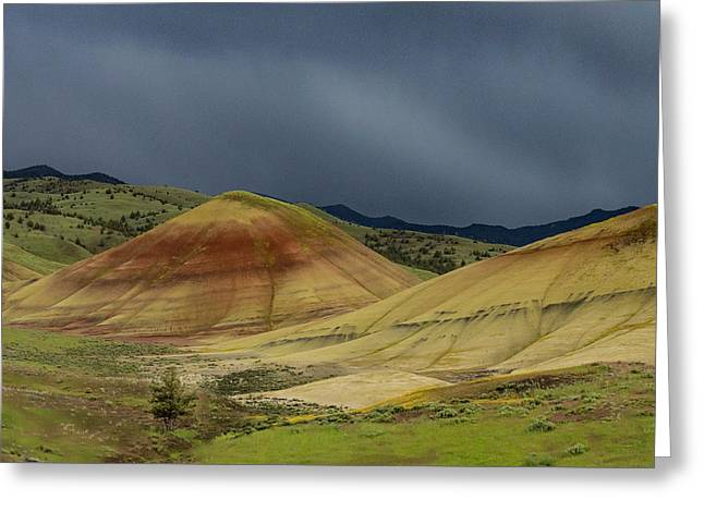 Painted Hills Storm Greeting Card by Jean Noren