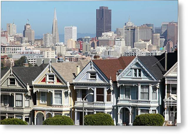 Painted Ladies Of Alamo Square San Francisco California 5d27996 Panoramic Greeting Card
