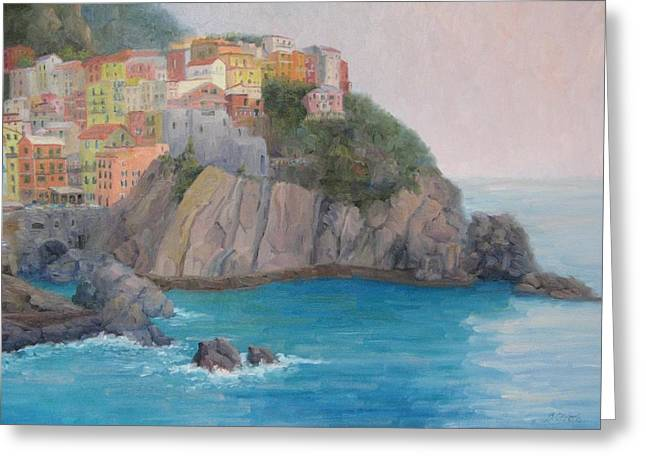 Painted Ladies Of Manarola Greeting Card by Bunny Oliver