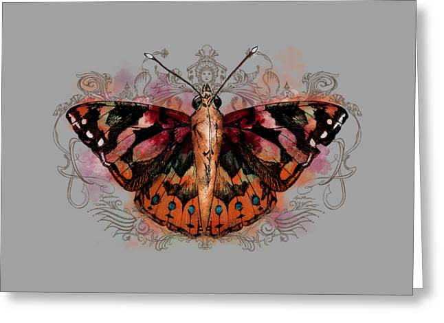Fleur De Lis Greeting Cards - Painted Lady II Greeting Card by April Moen