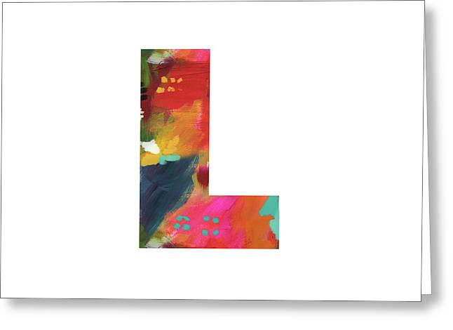 Painted Letter L-monogram Art By Linda Woods Greeting Card