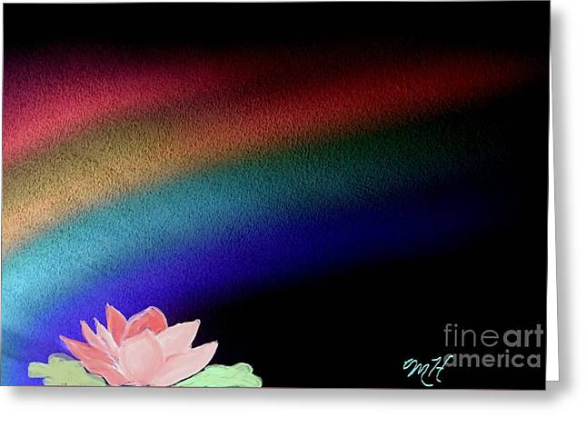 Painted Lotus Under Rainbow Greeting Card