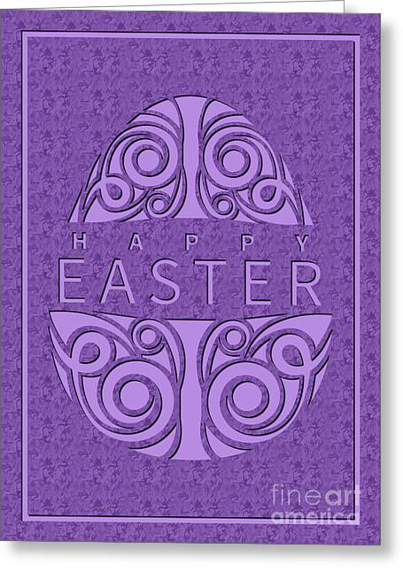 Greeting Card featuring the digital art Painted Marble Deco Easter Egg by JH Designs