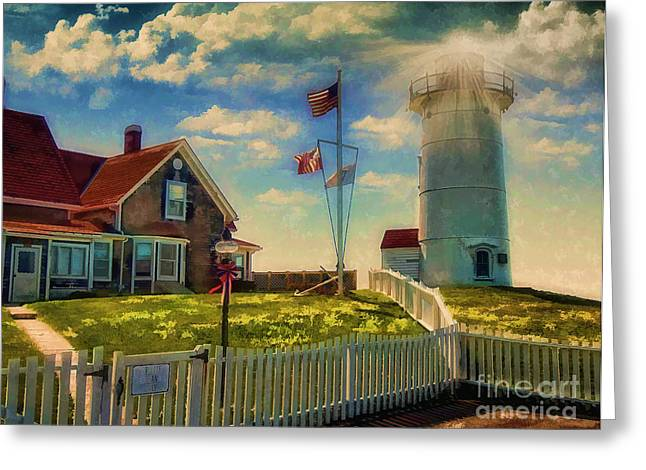 Painted Nobska Lighthouse On Cape Cod Greeting Card