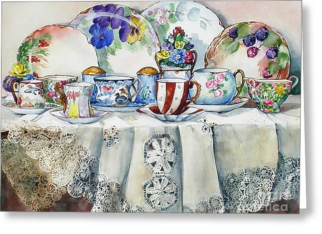 Painted Painted China Greeting Card by Jane Loveall