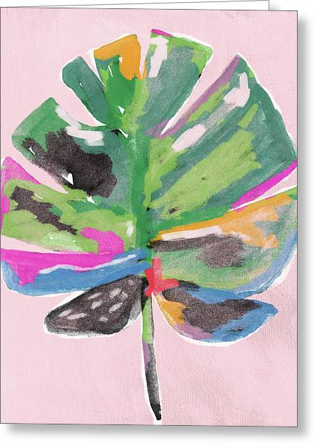 Greeting Card featuring the mixed media Painted Palm Leaf 2- Art By Linda Woods by Linda Woods