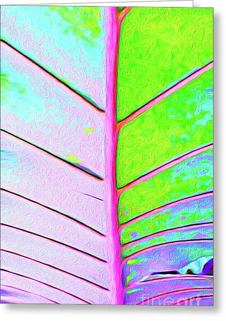 Painted Palm Leaf Greeting Card by Chris Andruskiewicz