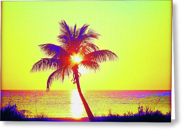 Painted Palm Sunset Greeting Card by Chris Andruskiewicz