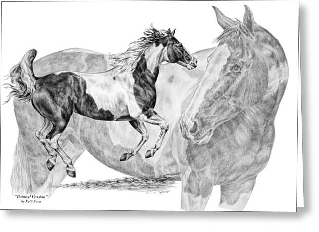 Kelli Drawings Greeting Cards - Painted Passion - Paint Horse Art Print Greeting Card by Kelli Swan