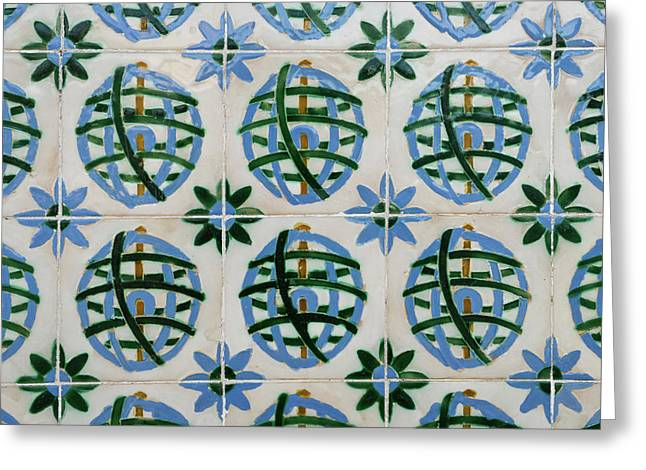 Painted Patterns - Azulejo Tiles In Blue And Green Greeting Card