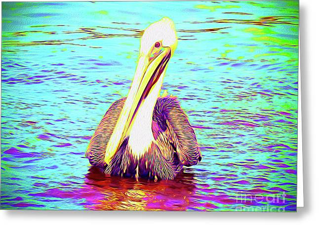 Painted Pelican Greeting Card by Chris Andruskiewicz