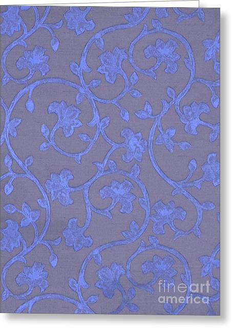 Painted Periwinkle Blue Damask On Gray Linen Greeting Card