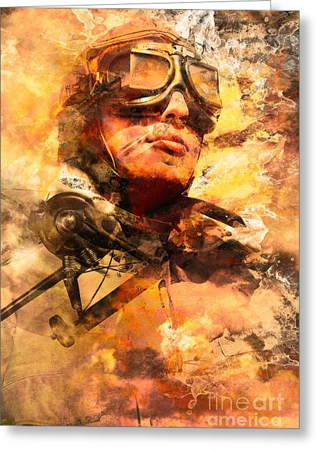 Painted Pilots At War Greeting Card by Jorgo Photography - Wall Art Gallery