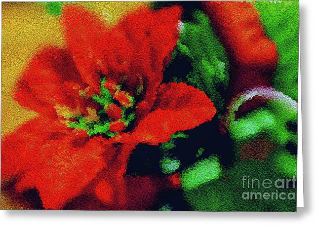 Greeting Card featuring the photograph Painted Poinsettia by Sandy Moulder