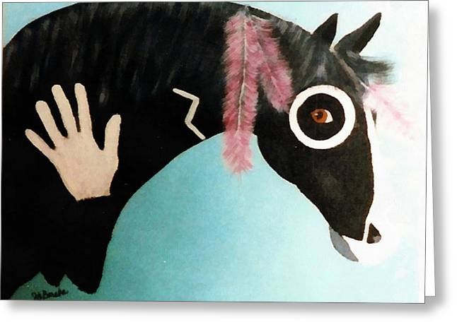 Painted Pony With Feather Greeting Card