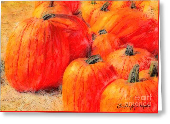 Greeting Card featuring the painting Painted Pumpkins by Chris Armytage