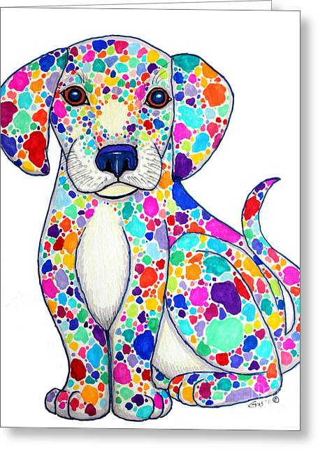Colorful Creatures Drawings Greeting Cards - Painted Puppy Greeting Card by Nick Gustafson