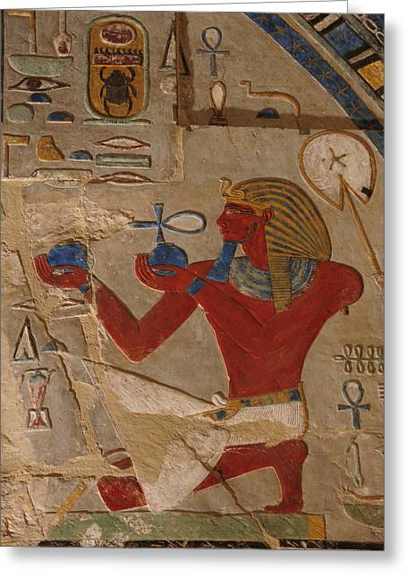 Painted Relief Of Thutmosis IIi Greeting Card by Kenneth Garrett