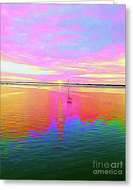 Painted Sailboat Sunset Greeting Card by Chris Andruskiewicz