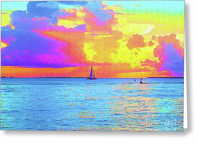 Painted Sails Key West Greeting Card by Chris Andruskiewicz