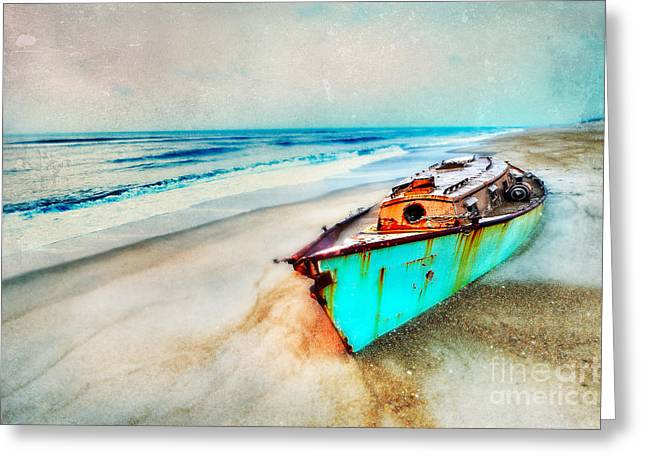 Dan Carmichael Greeting Cards - Painted Shipwreck on the Outer Banks II Greeting Card by Dan Carmichael