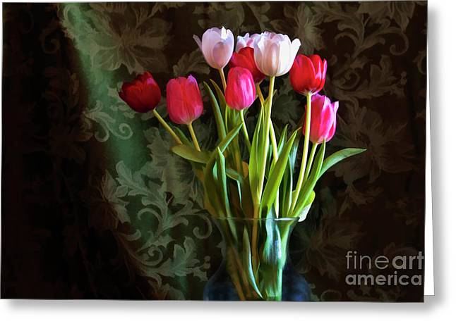 Painted Tulips Greeting Card by Joan Bertucci