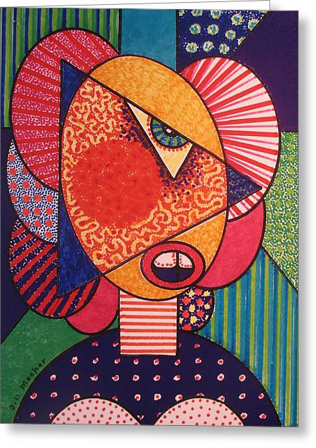 Painted Woman Greeting Card by Bill Meeker