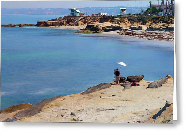 Painter By The Sea Greeting Card by Joseph S Giacalone