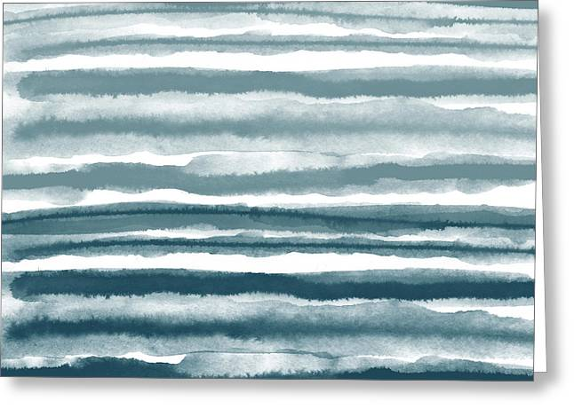 Painterly Beach Stripe 1- Art By Linda Woods Greeting Card by Linda Woods