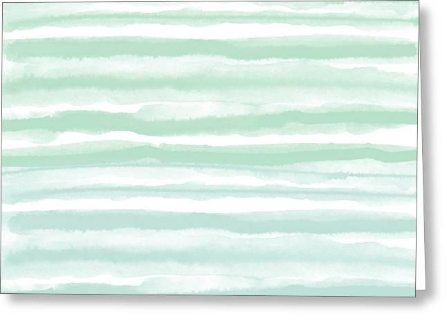 Painterly Beach Stripe 2- Art By Linda Woods Greeting Card