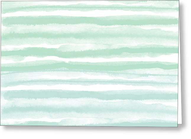 Painterly Beach Stripe 2- Art By Linda Woods Greeting Card by Linda Woods
