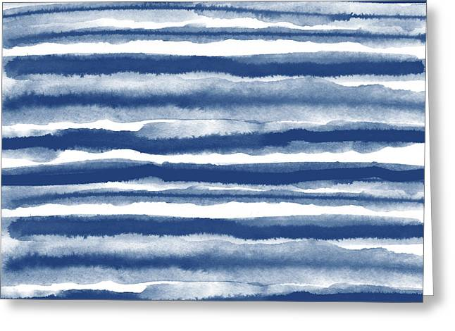 Painterly Beach Stripe 3- Art By Linda Woods Greeting Card by Linda Woods