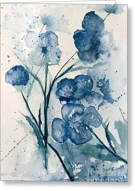 Painterly  Blues Greeting Card