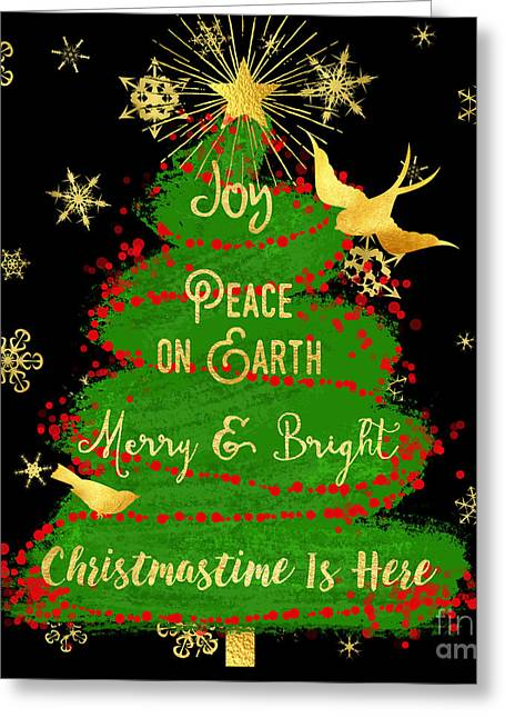 Painterly Christmas Tree, Joy, Peace On Earth, Gold Text Art Greeting Card