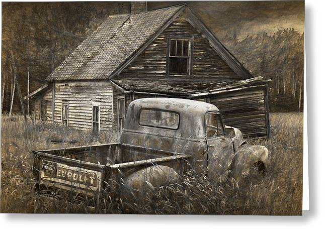 Painterly Effects Of An Old Chevy Pickup With Abandoned Farm House Greeting Card by Randall Nyhof