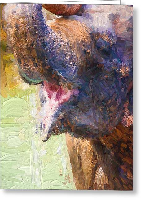 Painterly Elephant Greeting Card by Pati Photography
