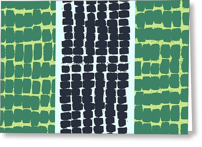 Painterly Marks Pattern In Green And Blue Greeting Card by Stephanie Troutner