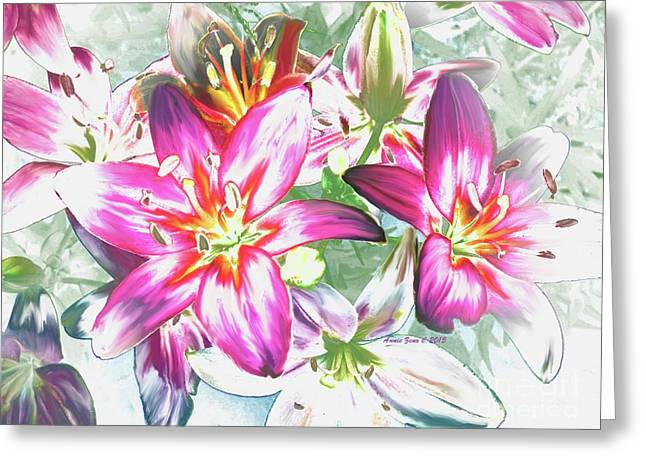 Painterly Pink Tiger Lilies Greeting Card