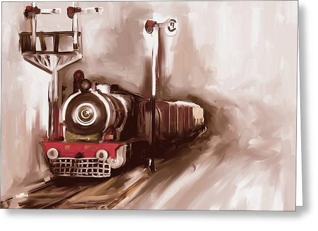Painting 801 3 Steam Engine Greeting Card