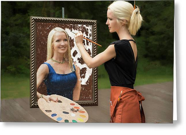 Painting A Self Portrait Greeting Card